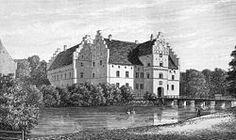 Gisselfeld Slot, Sjælland - Gisselfeld blev i sin nuværende form grundlagt af Peder Oxe til Nielstrup, der byggede gården 1547-75. Den har oprindelig bestået af fire sammenbyggede, tre stokværk høje fløje, opførte af røde sten og med meget tykke ydermure. Disse er til dels forsynede med skydeskår og har store, takkede gavle. Midt på venstre fløj findes et fremspringende porttårn. Fjerde fløj var oprindelige kirkefløjen, men den er for længst nedrevet;
