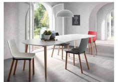 Mesa semiovalada Oakland en blanco y madera de estilo nordico extensible Oki