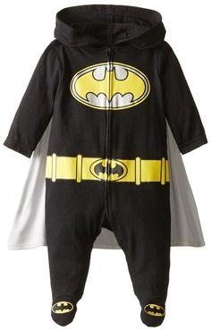 Warner Brothers Baby-Boys Newborn Batman Hooded Coverall with Cape, Black, Months Warner Brothers, Warner Bros, Baby Boy Newborn, Baby Boys, Hoods, Cape, Batman, 3 Months, Sweatshirts