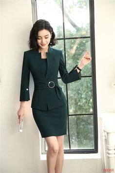 Formal Business Suits Blazers With Jackets And Dress For Women Office Work Wear Sets - Work Outfits Women Work Dresses For Women, Suits For Women, Clothes For Women, Classy Work Outfits, Office Outfits Women, Short Beach Dresses, Short Mini Dress, Off Shoulder Lace Dress, Classy Suits