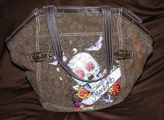 RED by MARC ECKO Tote, Brown Fabric Skull & Roses design Double Strap Shopper   #REDbyMarcEcko #ToteShopper