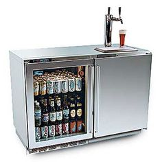 great beer fridge option! cold bottles and glasses and a tap!!