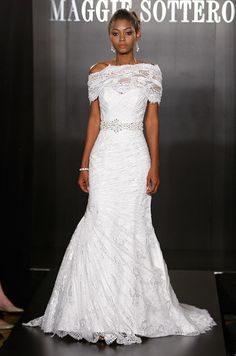 Maggie Sottero wedding dress with lace shrug, Fall 2012