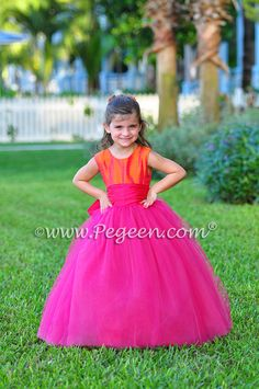 Boing Hot Pink and Mango silk ballerina style Flower Girl Dresses with layers and layers of tulle