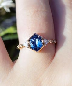 Crazy Amazing Hexagon Montana Sapphire - No-heat set in rose recycled gold ethically made vintage in NYC