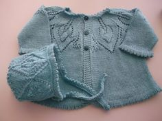 Hand Knit Traditional Style Baby Matinee Coat and Hat Set