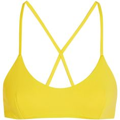 Fella Bruce Lee bikini top ($130) ❤ liked on Polyvore featuring swimwear, bikinis, bikini tops, bright yellow bikini, yellow bikini, swim suit tops, tie back bikini top and tie back swimwear