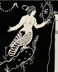 Siren and Greek frame drum with central sun symbol - Gresk rammetromme m. sentralt solsymbol 340 BCE by saamiblog, via Flickr