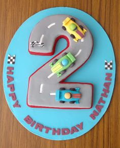 The Cupcake Gallery Blog: Racing car 2nd birthday cake