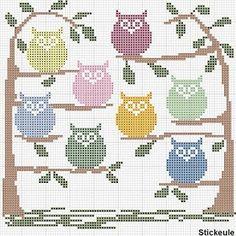 Free Printable Cross Stitch Patterns   free owls   schemi punto croce