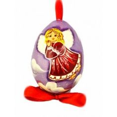 Angel Egg (purple background), $12.00, catalog of St Elisabeth convent. #Catalogofgooddeed #egg #angel #wood #handpainted #pendant #easter #handmade