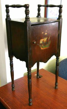 Wood Smoking Stand Table Cabinet Humidor Ashtray Vintage