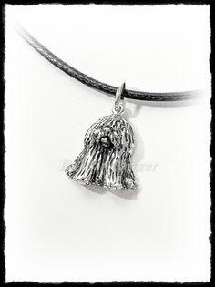Ezüst ülő puli kutya medál