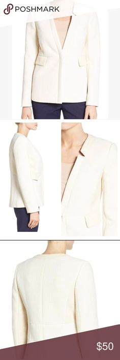 """NWT Emerson Rose tweed Rita Jacket NWT Emerson Rose cream Tweed Jacket. Aprrox Measurements: Length 26.5""""  armpit 18.5"""" sleeve  24""""  - Front snap closure - Notch lapels - Long sleeves - Front flap pockets - Lined - 81% cotton, 19% polyester - Dry clean - Imported Emerson Rose Jackets & Coats Blazers"""