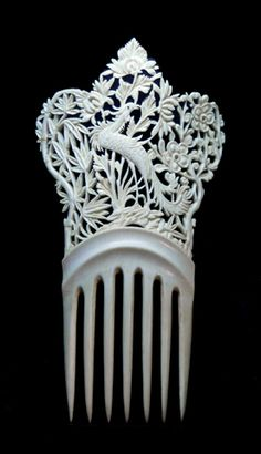 Pentear o cabelo Exportação Marfim chinês Pente «Barbara Ann -  /   Chinese Ivory Export Comb « Barbaraanne's Hair Comb -