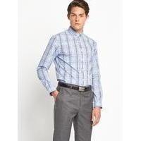Mens Check Pin Collar Shirt, Blue
