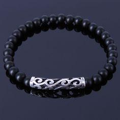 Handmade Gemstone Bracelet Black Onyx 925 Sterling Silver Charm Men Women 304E #Handmade #GemstoneSterlingSilverBraceletMenWomen