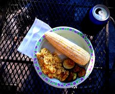 Dinner Corn on the cob Yellow rice Grilled zucchini  Frosty Adult Beverage