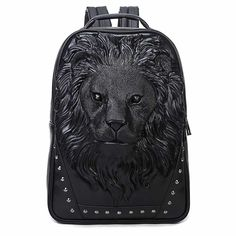Cheap lion backpack, Buy Quality leather school backpack directly from China fashion women backpack Suppliers: DIOMO Fashion Women's Backpack Cool Lion Backpack PU Leather School Backpacks For Teenage Girls School Bag mochila escolar Laptop Backpack, Backpack Bags, Travel Backpack, Laptop Bags, Black Patent Leather, Pu Leather, Leather School Backpack, Leather Engraving, Studded Backpack