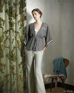 RARE Anthropologie 2008 Greying Oak Kimono Blouse Embroidered Top by Tiny 4 6 S | eBay