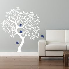 Modern tree wall decal. White tree wall sticker. by CherryWalls, $76.00