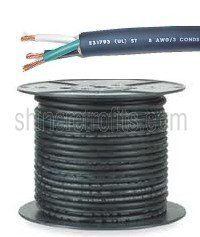 18//3 SOOW SO Portable Power Cable Durable Flexible Wire Black 600V 250/' Spool