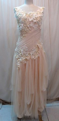 Custom Made One of A Kind Tulle Slant Asymmetrical Long Dress. $ 278.00, via Etsy.