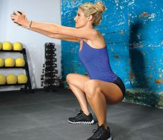 WOD #2: SQUAT: Task priority: do 3 rounds Stand with feet hip-width apart, toes pointed out slightly, body weight in heels; hold a weight with both hands, arms extended at eye level. With chest lifted, sink down until hips are below knees (as shown). Return to start. Do 30 reps. WORKS BUTT, THIGHS