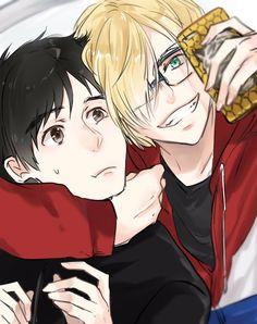 Yuri Plisetsky and Katsudon!!! Kawaii Love how Yura looks with glasses!!! Kawaii!!!