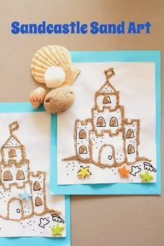 MakingMamaMagic: Sandcastle Sand Art- I'd have students draw/color it themselves first and then write about what they would do at the beach.