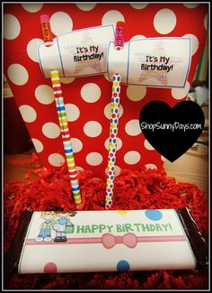 Free candy bar birthday wrapper and pencil flags for your students' birthdays