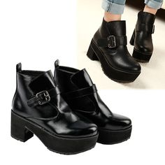 HOT Women's Black Buckle Strap Chunky Heels Platform Ankle Boots Anti-skid Rubber Sole_Boots_Shoes_Women's Fashion Zone & Best Price Clothes