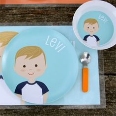 Personalized plates and bowls, you can even personalize the look of the child to match your own!