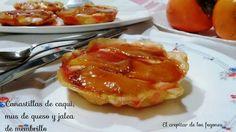 Canastillas de caqui sobre mus de queso. Pasteles con fruta, queso, yogurt y jalea de membrillo. Una combinación exquisita dentro de cestitas de pasta filo.