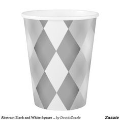 Abstract Black and White Square Pattern Paper Cup  Available on more products! Type in the name of the design in the search bar on my Zazzle Products Page. Thanks for looking!  #abstract #pattern #rectangle #square #black #white #grey #gray #buy #sale #zazzle #art #digital #style #life #lifestyle #accessory #accent #chic #contemporary #modern #paper #cup #catering #events #wedding