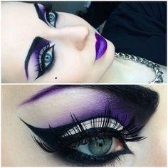 Maleficent Kostüm selber machen - Make Up & Style - diyhome Beautiful Halloween Makeup, Halloween Eye Makeup, Halloween Eyes, Maquillage Halloween, Costume Halloween, Skeleton Costumes, Halloween Diy, Purple Eye Makeup, Dark Makeup