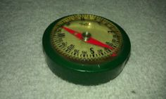 taylor,vintage,compass,pocket,green,camping,straps on!!,plastic,works good cond.