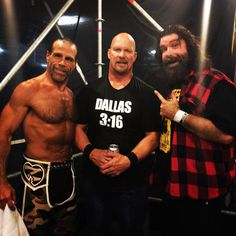 That. Just. Happened! #StoneCold Steve Austin, #MickFoley and #ShawnMichaels shocked the #WWEUniverse! #wrestlemania