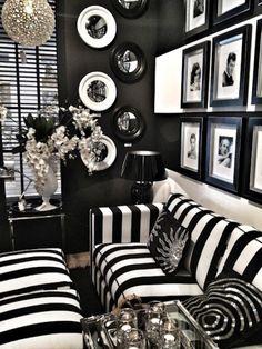Decorar un salón en negro y blanco