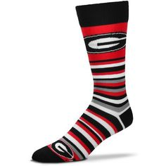 For Bare Feet University of Georgia Lotta Stripe Thin Knee High Dress Socks (Red, Size One Size) - NCAA Licensed Product, NCAA Novelty at Academy S...