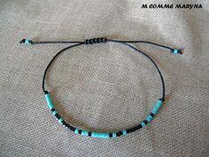 Bracelet d'amitié réglable en perles Miyuki delicas Noir et turquoise Minimalisme Bohochic Bohemian Bohostyle : Bracelet par m-comme-maryna