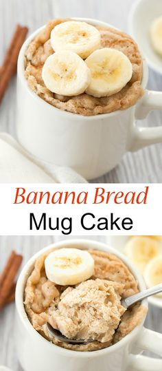 Banana Bread Mug Cake - A single serving version of banana bread cooked in the microwave in about 1 minute. Microwave Banana Bread, Banana Bread Mug, Healthy Banana Bread, Microwave Recipes, Banana Bread Recipes, Banana Snacks, Mug Cake Microwave, Mug Recipes, Sweet Recipes
