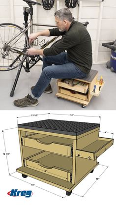 Rolling Work Seat and Tool Storage Cart - Whether you're building a DIY proje. Rolling Work Seat a Garage Tool Storage, Wood Storage Box, Workshop Storage, Storage Cart, Garage Tools, Diy Storage, Storage Drawers, Seat Storage, Garage Bike