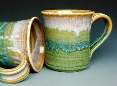 Pottery Mug Ceramic Coffee Mug Tri Layered by darshanpottery, $20.00