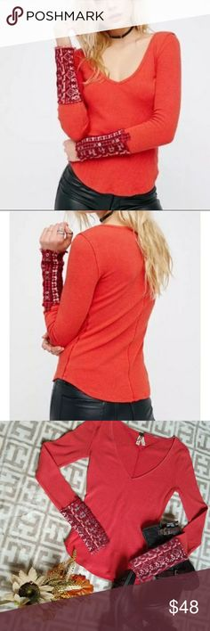 🍁🍂NWT Free People Art Thermal🍁🍂 Get ready for Fall with this new red thermal with super soft & unique styled sleeves.  Sleeves are super cozy with 6 buttons on each sleeve.  Gr8 for those who dont like gloves.  Wear alone or as a layer piece.  Color is like a faded red.  A size S/P. 57% Cotton.  38% Polyester.  5% Spandex. Machine wash cold.  Reshape & lay flat drying.  No dry clean. Free People Tops