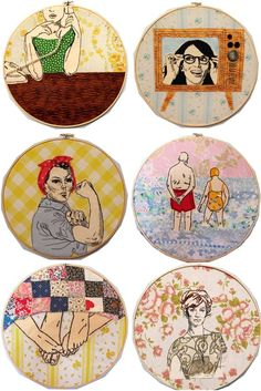 These embroidery hoops are beautiful and fun. I love the Tina Fey one! // Embroidery inspiration