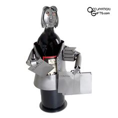 Female Lawyer Wine Bottle Holder - Gifts and Gift Ideas for Lawyers / Attorneys Wine Carrier, Bottle Carrier, Crafts From Recycled Materials, Craft Materials, Wine Caddy, Lawyer Gifts, Bottle Display, Steel Sculpture, Metal Sculptures