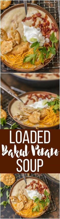 It doesn't get more comforting than LOADED BAKED POTATO SOUP. Creamy hearty soup loaded with bacon, potatoes, cheese, sour cream, and so much more. Warms the soul. via @beckygallhardin