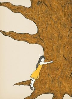 tree hugger illustration art print of a girl ink drawing - FINALLY SAFE