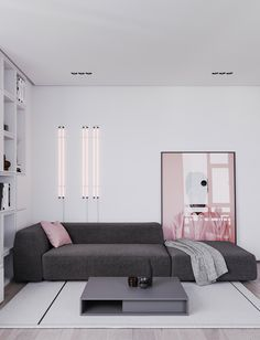 """Pink living room, what is the collision between the most open space in the room and the """"powder""""? In the most open living room in… Interior Design Minimalist, Grey Interior Design, Home Interior, Interior Design Living Room, Living Room Designs, Kitchen Interior, Bauhaus Interior, Contemporary Interior, Interior Ideas"""